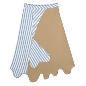 Anvil Colorblocked Asymmetric Knit Skirt