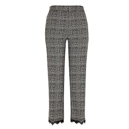 Check Lace Trim Pants