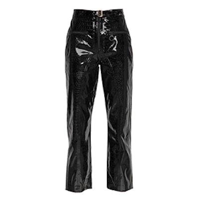 Zip Front Faux Patent Leather Pants