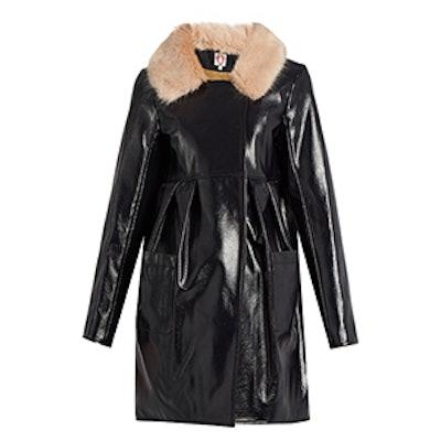 Locket Faux Patent-Leather Coat