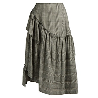 Prince Of Wales-Checked Ruffled Skirt