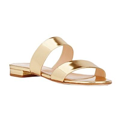 Specchio Leather Double-Band Slide Sandals