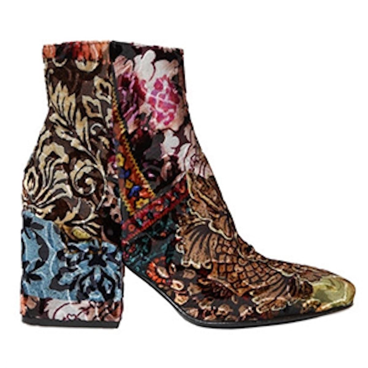 70MM Brocade Velvet Ankle Boots