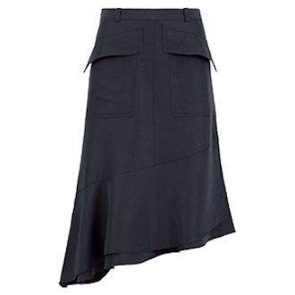 Twill Seamed Flare Skirt
