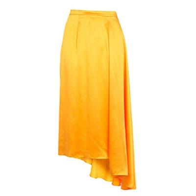 Asymmetric Satin Sash Skirt