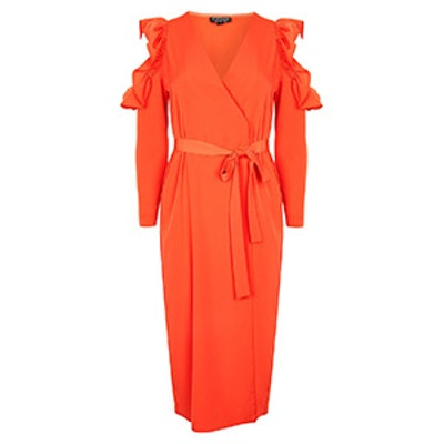 Ruffle Cold Shoulder Wrap Dress