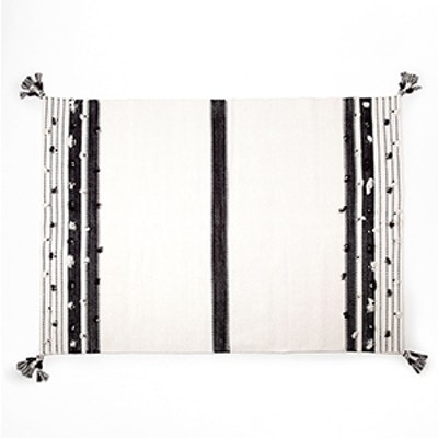 Cotton Rug With Black and White Pompoms