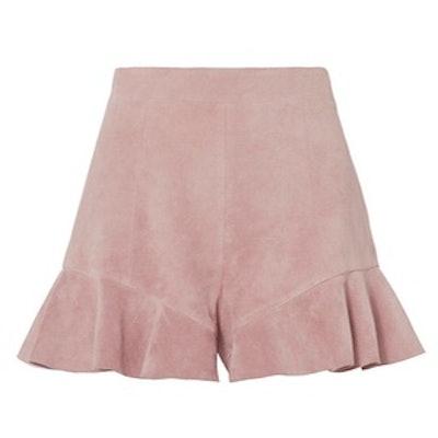 Emma Suede Ruffle Detail Shorts