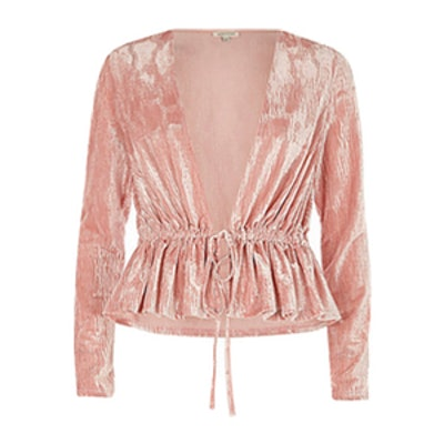 River Island Blush Velvet Top
