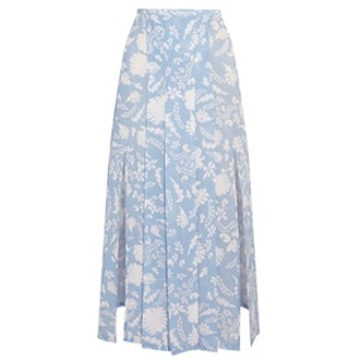 Georgia Pleated Printed Silk-Crepe Midi Skirt