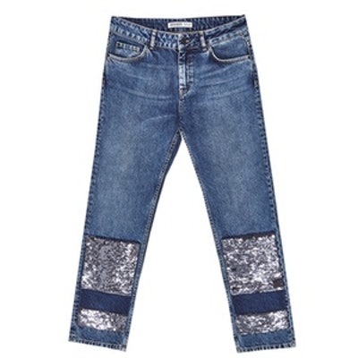 Mid Rise Jeans With Sequins