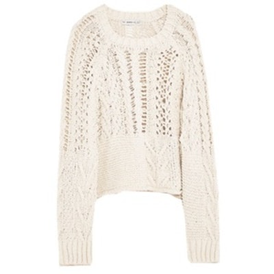Open-Work Cable Knit Sweater