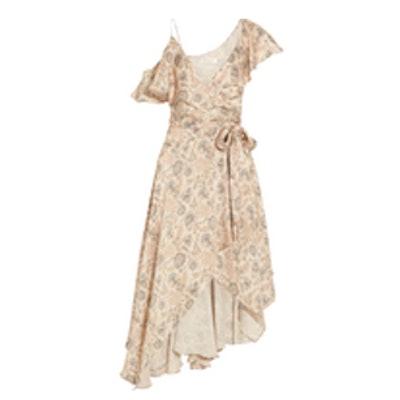 Ruffled Floral-Print Silk-Satin Wrap Dress