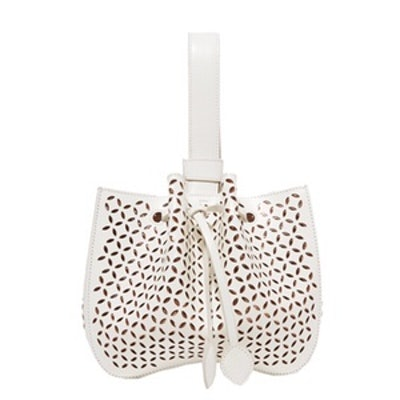 Laser-Cut Leather Bucket Bag