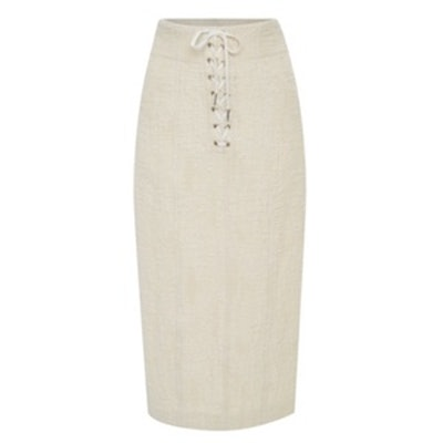 Liya Lace-Up Tweed Pencil Skirt