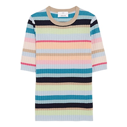 Ribbed Striped Cashmere Top