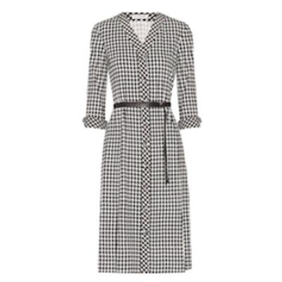 Leppard Belted Houndstooth Stretch-Cady Dress