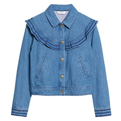 Frilled Embroidery Denim Jacket