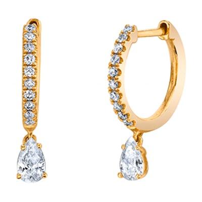 Diamond Huggies W/ Pear Diamond Drop