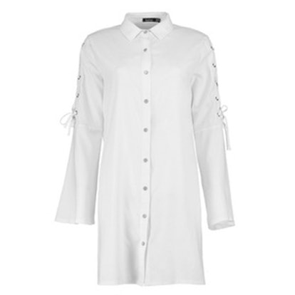 Raelyn Crepe Lace Up Sleeve Shirt Dress