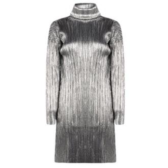 Allie Pleated High Neck Metallic Shift Dress