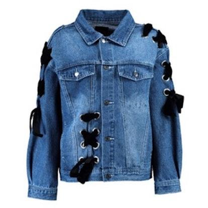 Cara Vintage Wash lace Up Denim Jacket