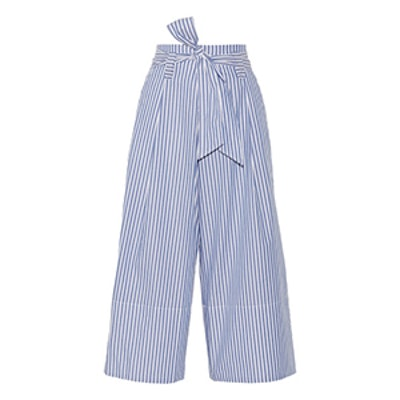 Bennih Cropped Striped Cotton-Poplin Pants