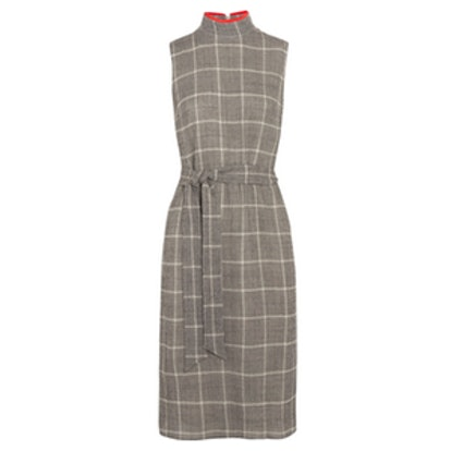 Belted Prince Of Wales Checked Wool-Blend Dress