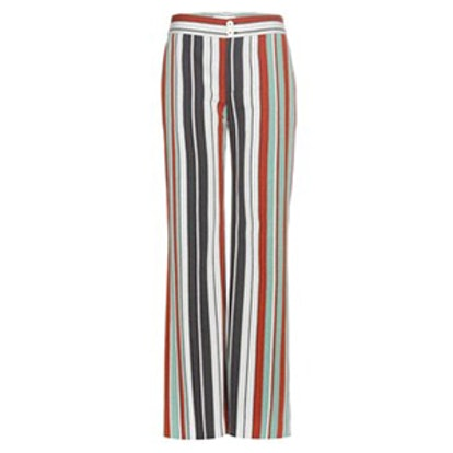 Striped Cotton-Blend Twill Wide-Leg Trousers