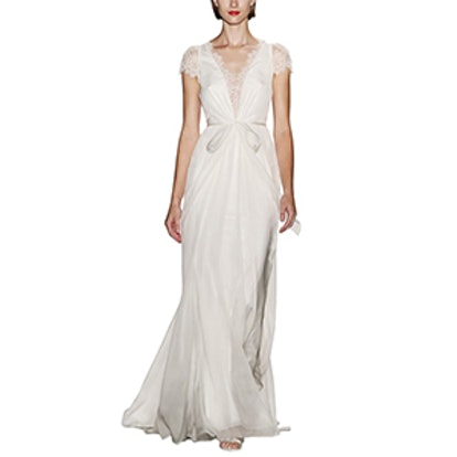 Lainee Silk Chiffon & Lace Cap Sleeve Gown