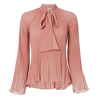 Pleated Tie Blouse