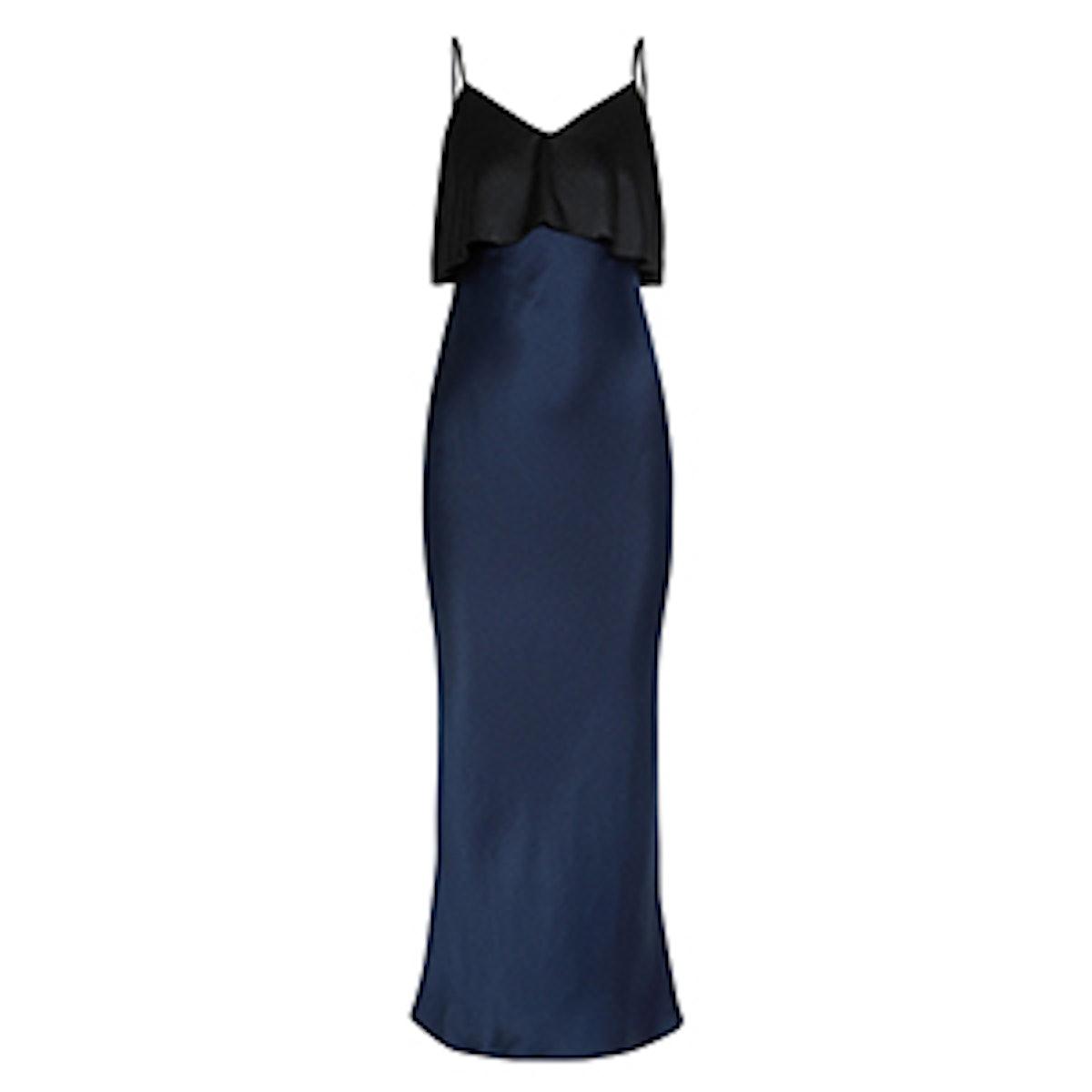 Two-Tone Hammered Silk-Satin Midi Dress