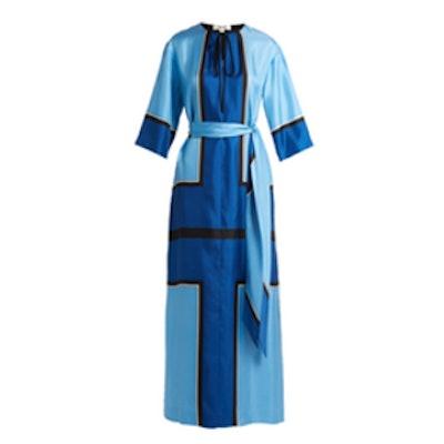 Scarf-Print Silk-Satin Maxi Dress