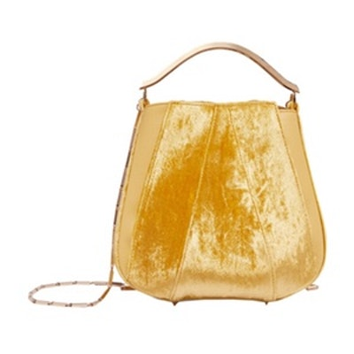 Pepper Velvet And Leather Bucket Bag
