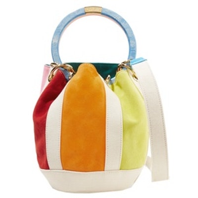 Olivia Small Paneled Suede And Linen Tote