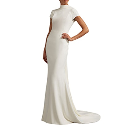 High Neck Cap Sleeve Gown With Open Back