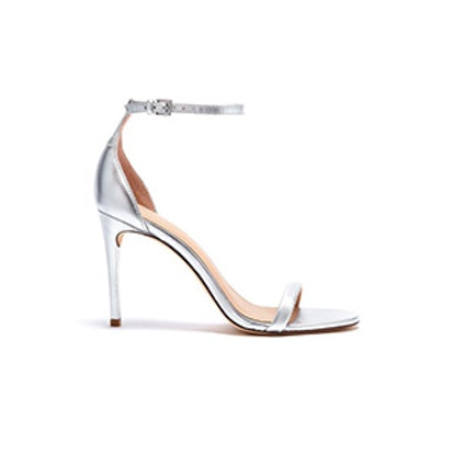 Ema Metallic Leather Heeled Sandals In Silver