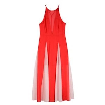 High Neck Godet Sleeveless Maxi Dress
