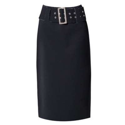 Black Fringed Seam Midi Skirt With Belt