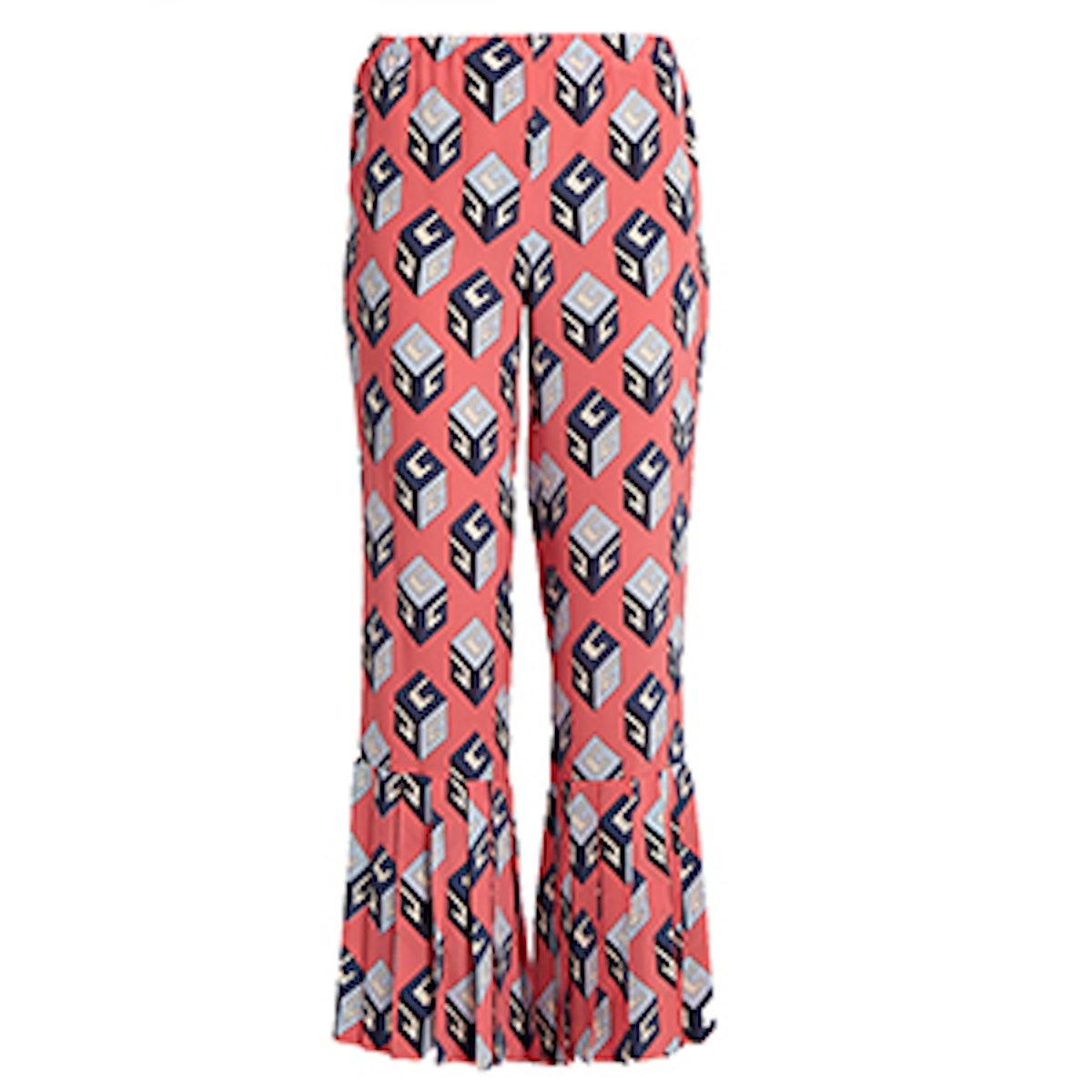 Cube-Print Silk Trousers