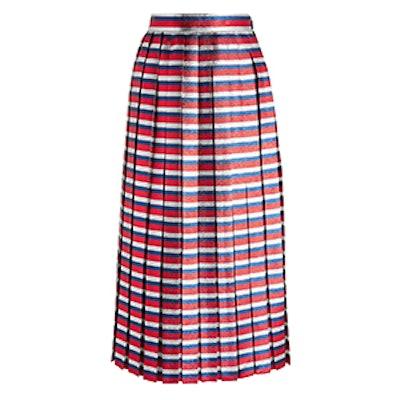Pleated Striped Silk-Blend Lamé Midi Skirt