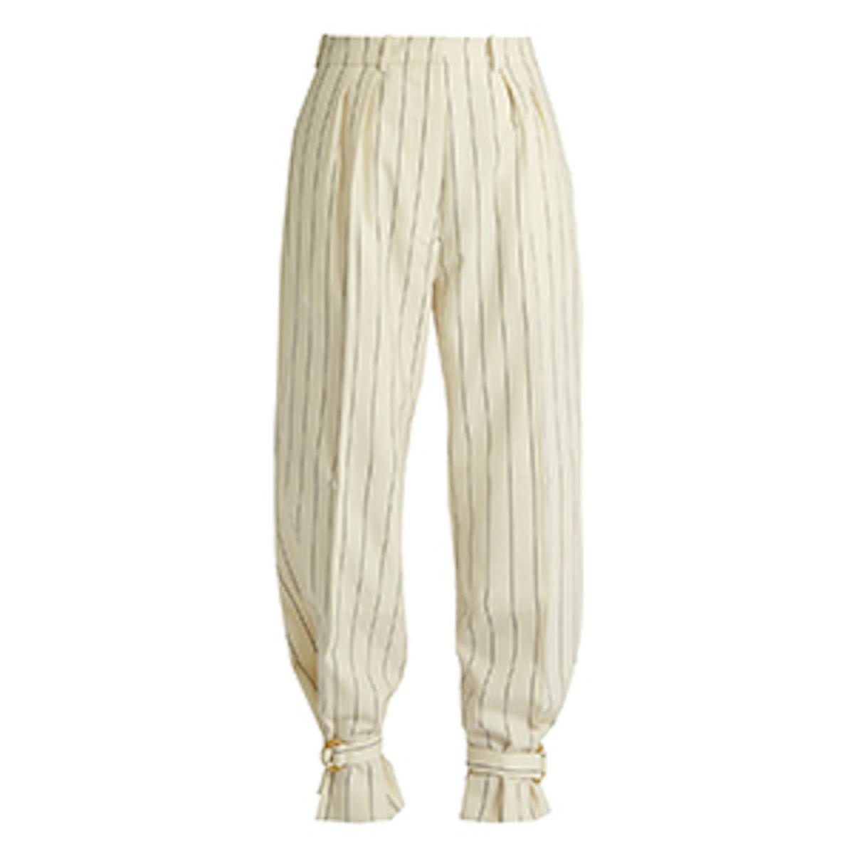 Tie-Cuff Striped Wool Trousers