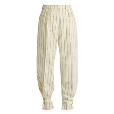 Tie-Cuff Striped Wool Trousers