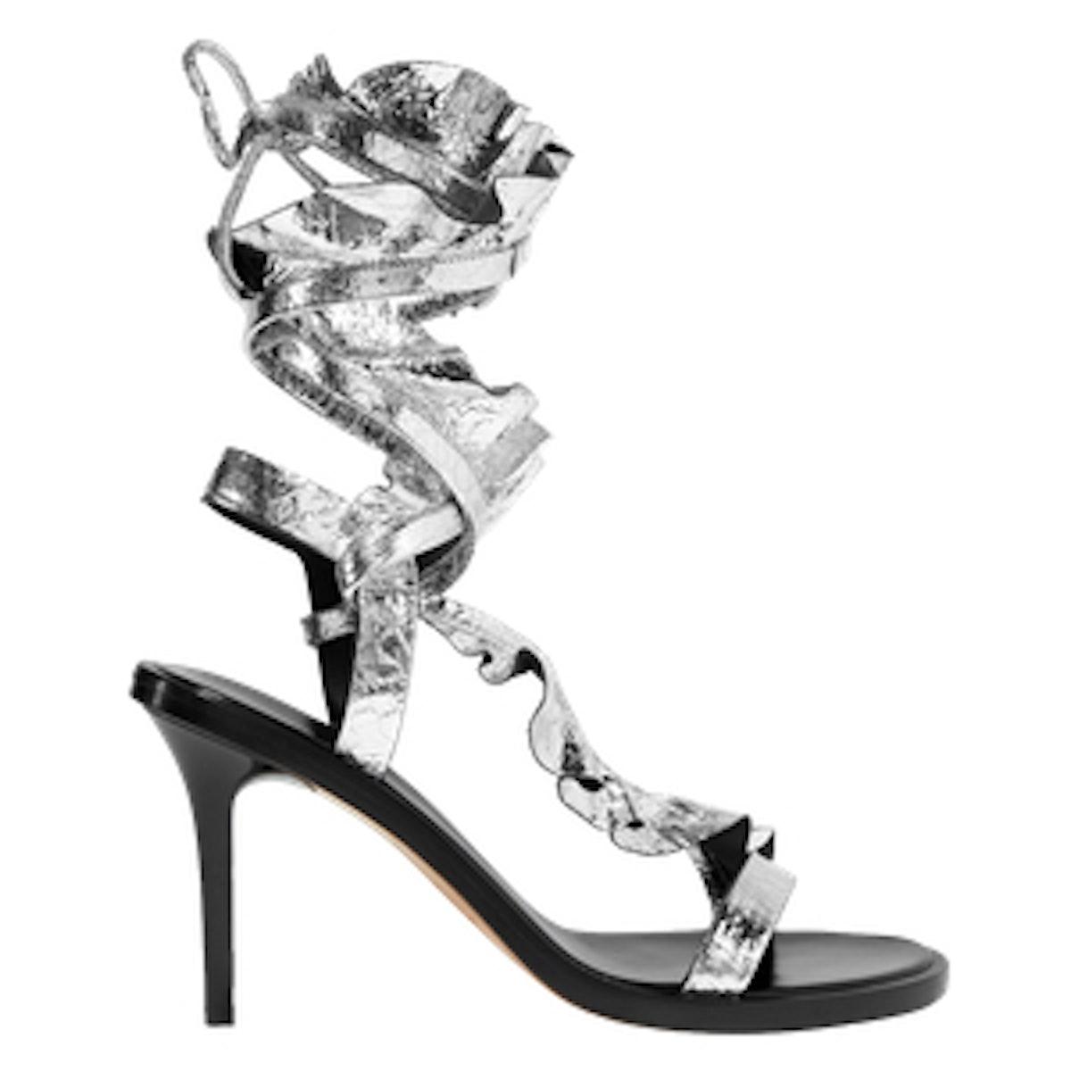 Ansel Ruffled Metallic Cracked-Leather Sandals