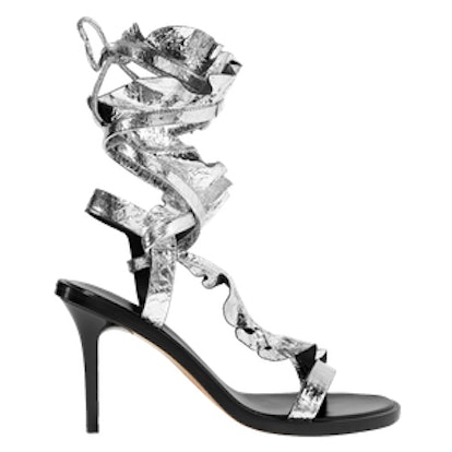 Ansel Ruffled Metallic Cracked-Leather Sandals