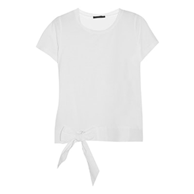 Poplin-Trimmed Cotton-Jersey T-Shirt