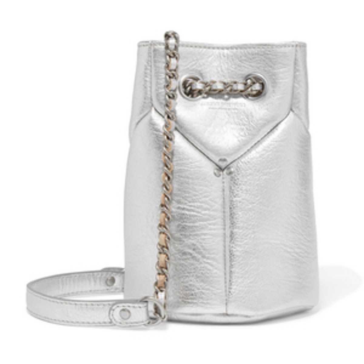 Popeye Mini Metallic Textured-Leather Bucket Bag