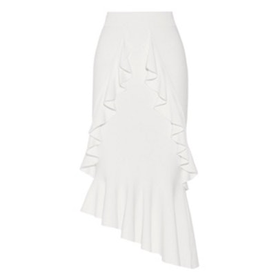 Asymmetric Ruffled Stretch-Knit Midi Skirt