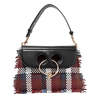 Pierce Medium Woven Leather Shoulder Bag
