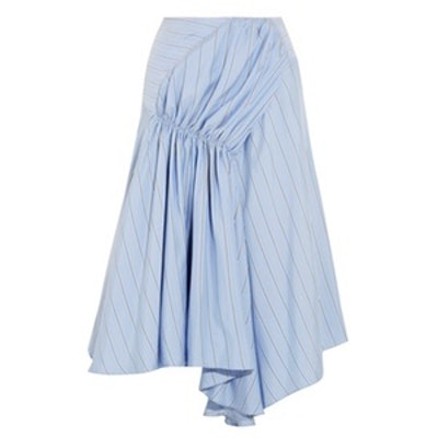 Asymmetric Striped Silk Crepe De Chine Skirt